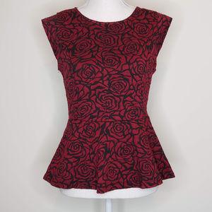 Forever 21 rose patterned peplum top
